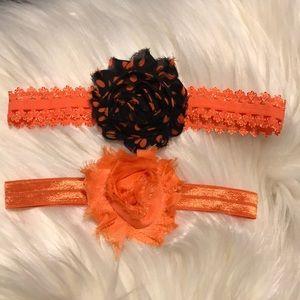 Infant stretch orange and black headbands(2)
